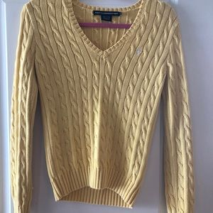 Ralph Lauren Yellow cotton cable knit sweater.